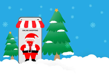 Concepts of Christmas online shopping   pandemic. Santa Claus holding Christmas gift in smartphone on pine tree, snowy background, Illustration