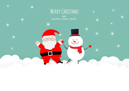 Merry Christmas. Smiling Santa Claus and snowman on snow background. Illustration