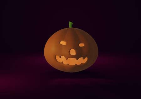 Happy halloween. Scary pumpkin on dark background. 3D rendering.