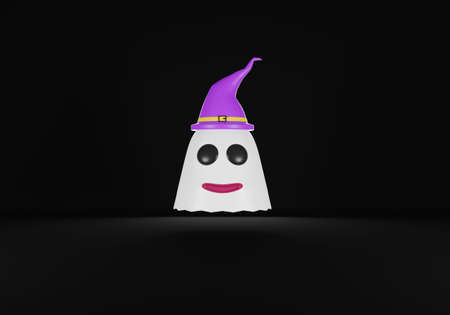 Halloween ghost wearing purple witch hat on black background. 3D rendering.