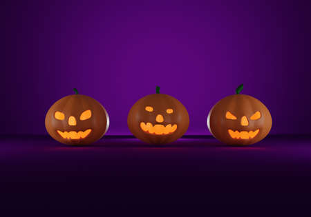 Three scary halloween pumpkins with candlelight inside on purple background. 3D rendering.
