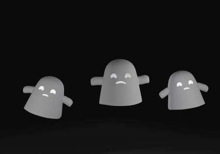 Halloween cute ghosts on dark background. 3D rendering.