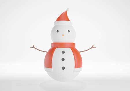 Cute snowman on white background. 3D rendering. Stock Photo