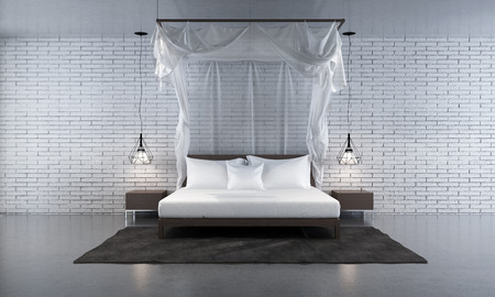 bedroom wall: 3d rendering bedroom and white brick wall