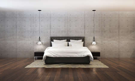 bedroom wall: 3d rendering bedroom and concrete wall