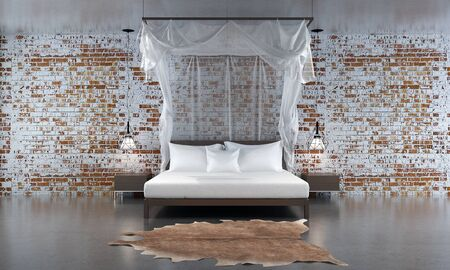 bedroom wall: 3d rendering bedroom and red brick wall