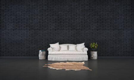 black brick living room