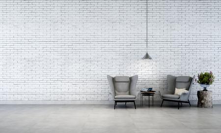 muro di mattoni bianchi soggiorno