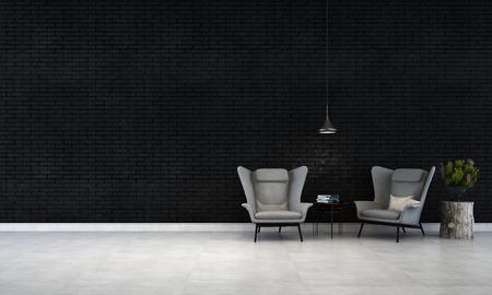黒レンガ壁のリビング ルーム
