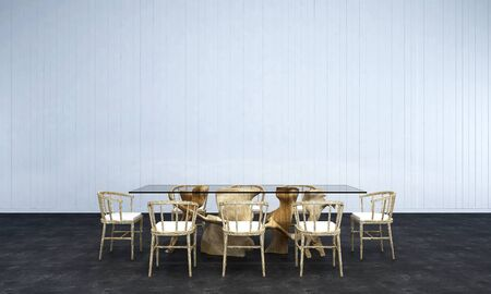3d render: 3D render dining room with white wall