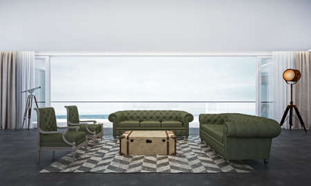 green sofa: 3D render green sofa living room with sea view Stock Photo