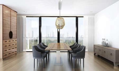 render: 3D render dining room Stock Photo