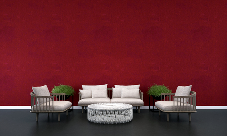 living room wall: 3D render living room and red wall