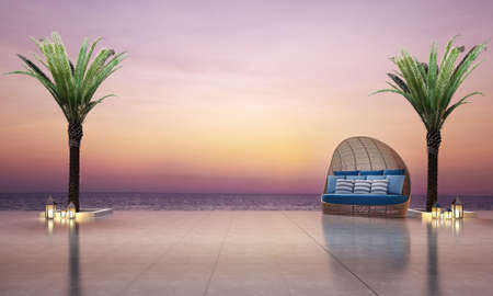 daybed: 3D render outdoor daybed and sunset