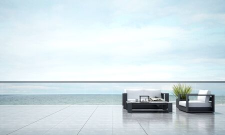 outdoor living: 3D render outdoor living area and sea view