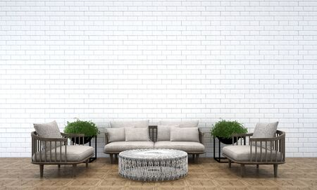 living room wall: 3D render living room and white brick wall Stock Photo