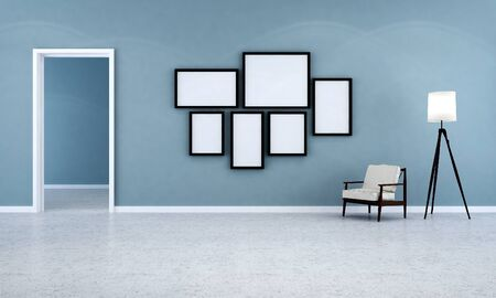 living room wall: living room and blue wall Stock Photo