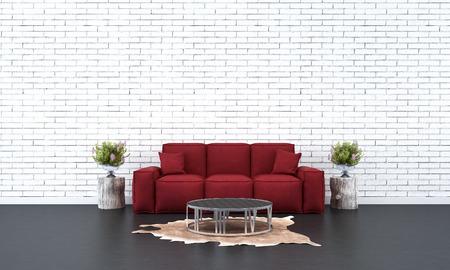 white sofa: loft living room red sofa and white brick wall Stock Photo
