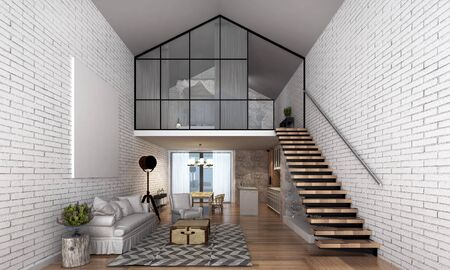 minimal: minimal loft living room and double space