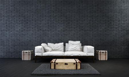 living room wall: black brick wall living room Stock Photo