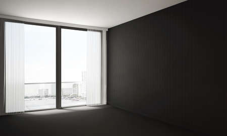The interior design of empty modern living room and lounge space hall area and black concrete wall texture background