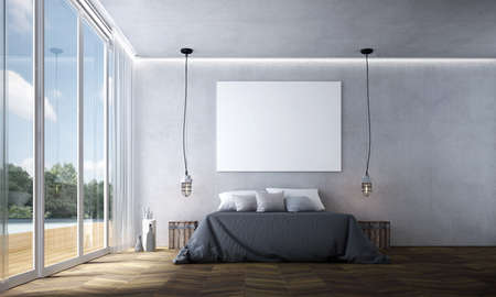 Modern bedroom interior design and concrete wall