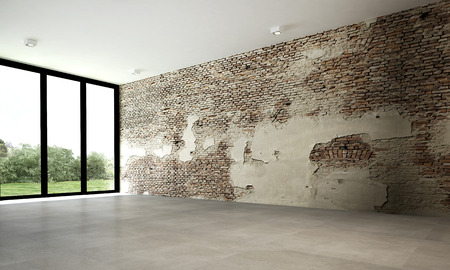 The 3d rendering interior design of brick wall empty room