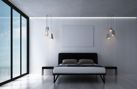 3D rendering interior of modern bedroom and sea view