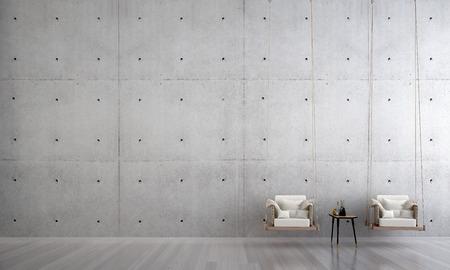 Die Innenarchitektur des Wohnzimmers und der Holzschaukel