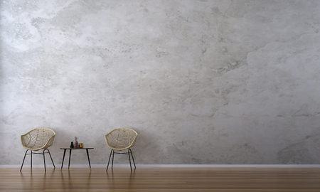 The interior design of loft living room and wooden chairs and texture wall