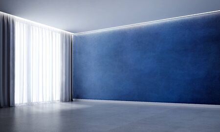 3D rendering interior scene of empty room and blue wall texture