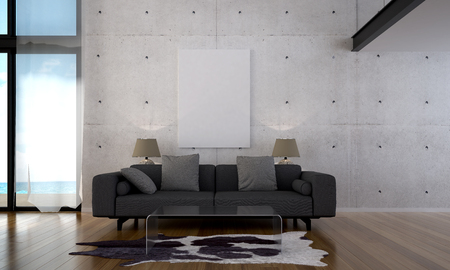 The 3d rendering interior scene of modern bedroom design and blue