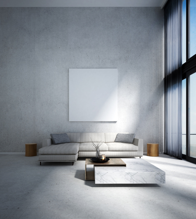 modern living room: The modern lounge and double space living room interior design and concrete wall background