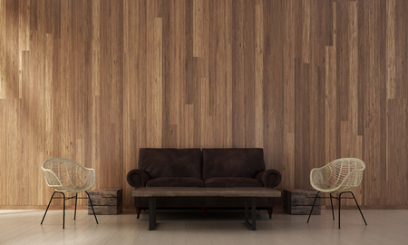 living room sofa: The interior design of living room and wood wall texture background   3d rendering new scene