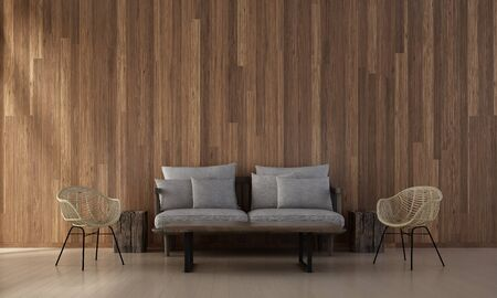 living room sofa: The interior design of minimal lounge and living room and wood wall texture background   3d rendering new scene