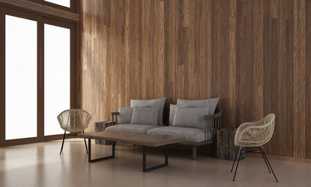 living room sofa: The interior design of minimal living room and wood wall texture  3d rendering new scene Stock Photo