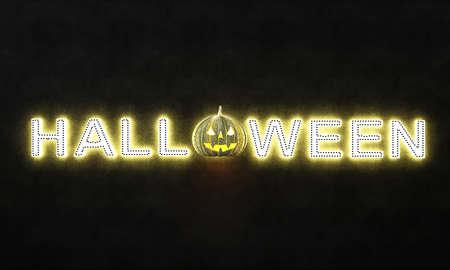 Halloween neon lighting and black wall background Archivio Fotografico