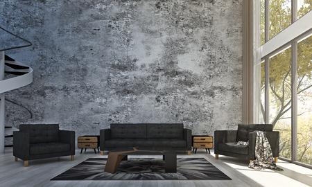 Projekt wnętrza salonu oraz betonowej ściany i ogrodu z drzewami