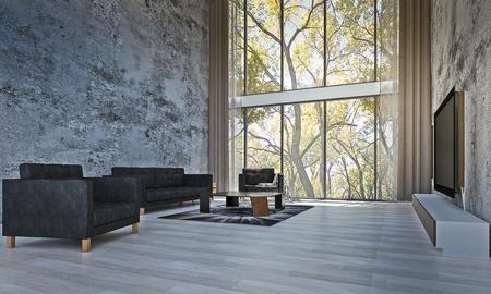 Die moderne innenarchitektur des wohnzimmers und der betonmauer