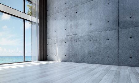 The empty lounge hall and living room interior design and concrete wall