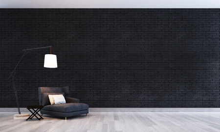 The interior design concept idea of living room and black brick wall