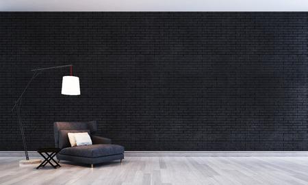 le concept de l & # 39 ; intérieur de la galerie de salon et mur de brique noire
