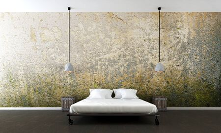 The interiors design of modern bedroom and wall texture background Archivio Fotografico