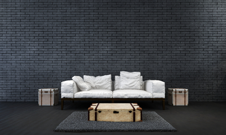 claen: The modern living room interior design and black brick wall background Stock Photo