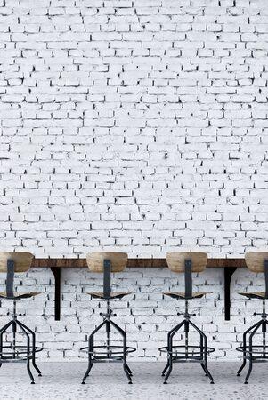 The loft stool bar interior design and white brick wall background