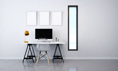 The interior design of minimal working area and computer desktop Stock Photo