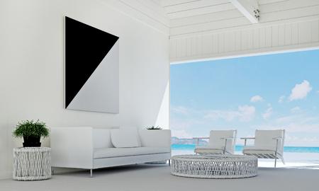 Het luxelounge en woonkamer binnenlands ontwerp en het witte van het achtergrond muurpatroon idee en overzeese mening Stockfoto