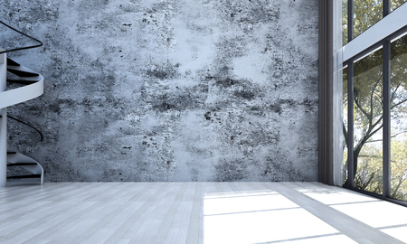 Empty living room interior design and concrete wall background