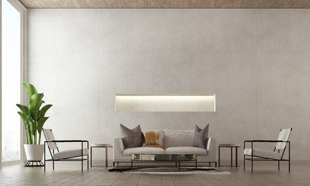 3D rendering interior design of minimal living room and concrete wall texture background