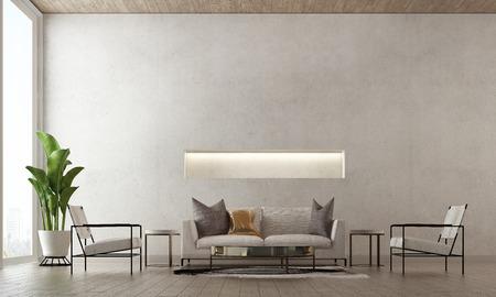Diseño de interiores de renderizado 3D de sala de estar mínima y fondo de textura de pared de hormigón